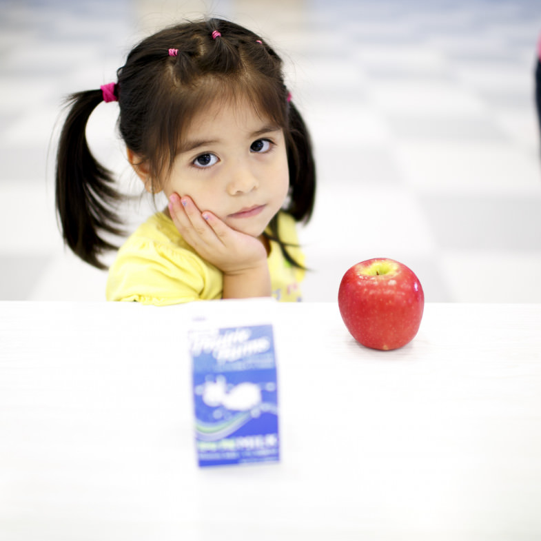 Girl with Milk and Apple