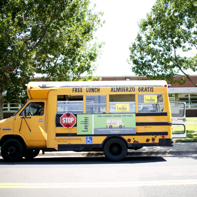 School bus with free lunch sign